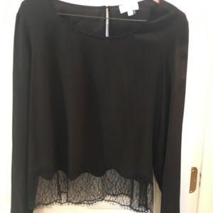 Aritzia Wilfred black lace top Medium